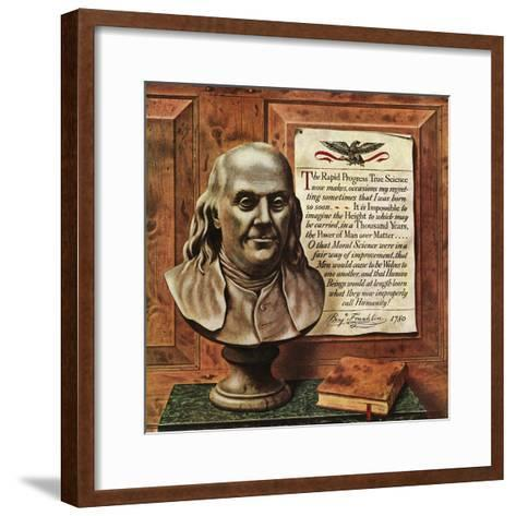 """Benjamin Franklin - bust and quote,"" January 19, 1946-John Atherton-Framed Art Print"