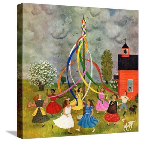 """Schoolyard Maypole Dance,"" May 4, 1946-Doris Lee-Stretched Canvas Print"