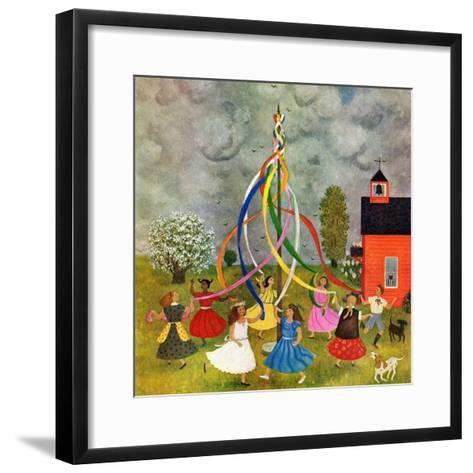 """Schoolyard Maypole Dance,"" May 4, 1946-Doris Lee-Framed Art Print"