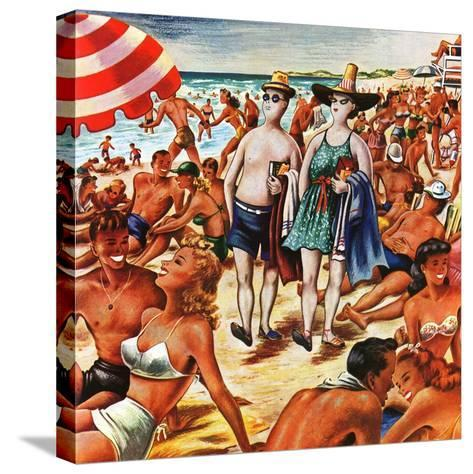 """""""Palefaces at the Beach,"""" July 27, 1946-Constantin Alajalov-Stretched Canvas Print"""