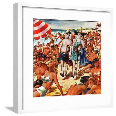 """Palefaces at the Beach,"" July 27, 1946-Constantin Alajalov-Framed Art Print"