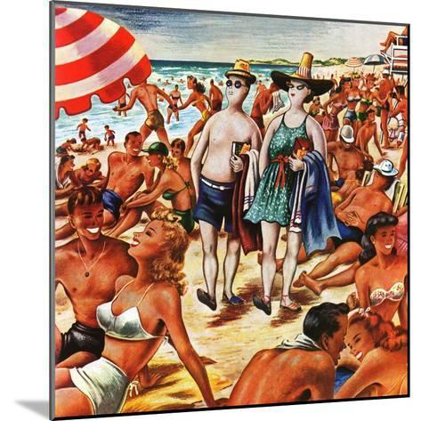 """""""Palefaces at the Beach,"""" July 27, 1946-Constantin Alajalov-Mounted Giclee Print"""