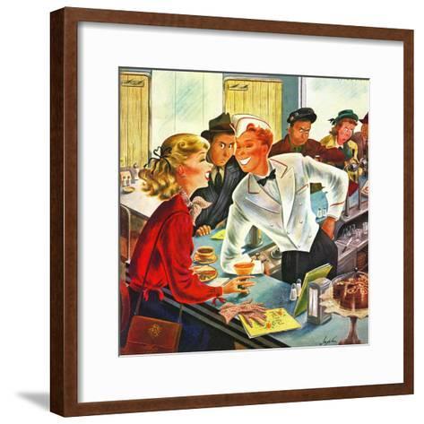 """""""Flirting Soda Jerk,"""" October 11, 1947-Constantin Alajalov-Framed Art Print"""
