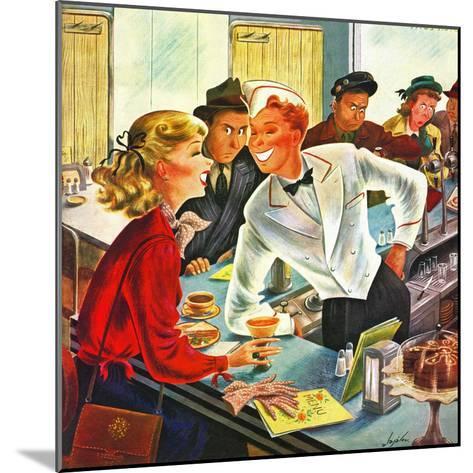 """""""Flirting Soda Jerk,"""" October 11, 1947-Constantin Alajalov-Mounted Giclee Print"""