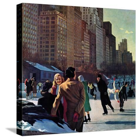 """""""Skaters in Central Park,"""" February 7, 1948-John Falter-Stretched Canvas Print"""