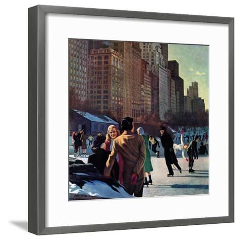 """""""Skaters in Central Park,"""" February 7, 1948-John Falter-Framed Art Print"""