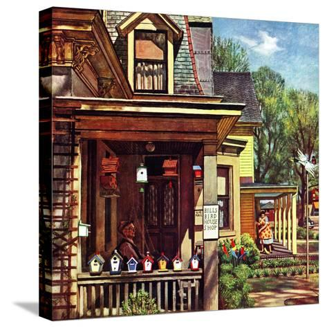 """""""Birdhouse Builder,"""" May 8, 1948-John Falter-Stretched Canvas Print"""