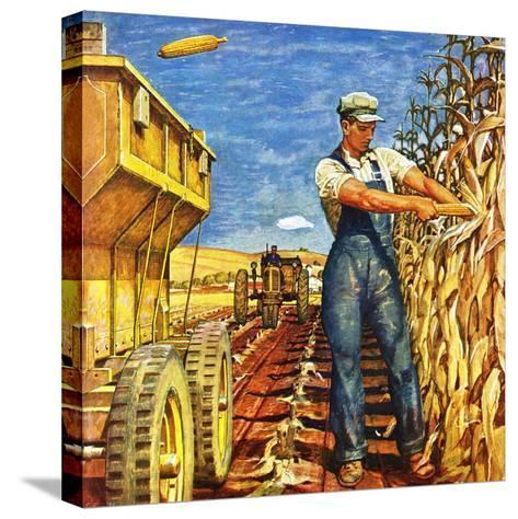 """Corn Harvest,"" October 9, 1948-Mead Schaeffer-Stretched Canvas Print"