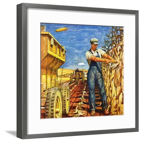 """""""Corn Harvest,"""" October 9, 1948-Mead Schaeffer-Framed Art Print"""