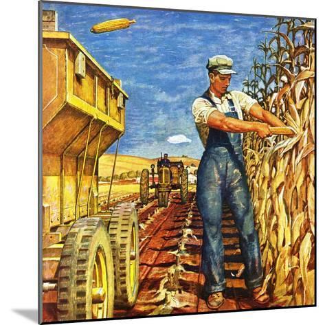 """Corn Harvest,"" October 9, 1948-Mead Schaeffer-Mounted Giclee Print"