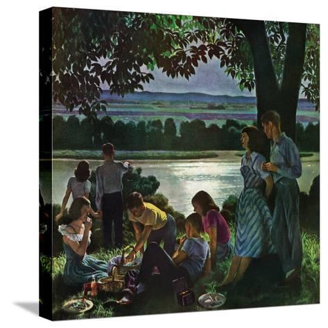 """Evening Picnic,"" June 4, 1949-John Falter-Stretched Canvas Print"