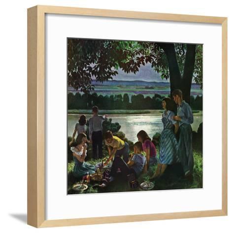 """Evening Picnic,"" June 4, 1949-John Falter-Framed Art Print"