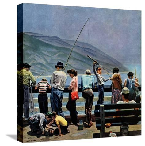 """""""Pier Fishing,"""" August 13, 1949-John Falter-Stretched Canvas Print"""