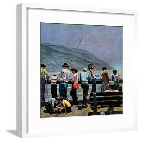 """""""Pier Fishing,"""" August 13, 1949-John Falter-Framed Art Print"""