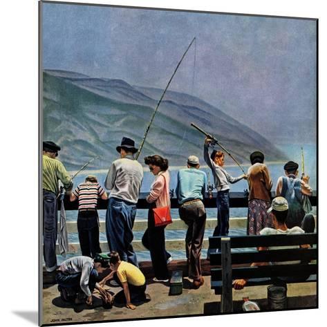 """Pier Fishing,"" August 13, 1949-John Falter-Mounted Giclee Print"