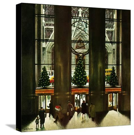 """""""St. Patrick's Cathedral at Christmas,"""" December 3, 1949-John Falter-Stretched Canvas Print"""