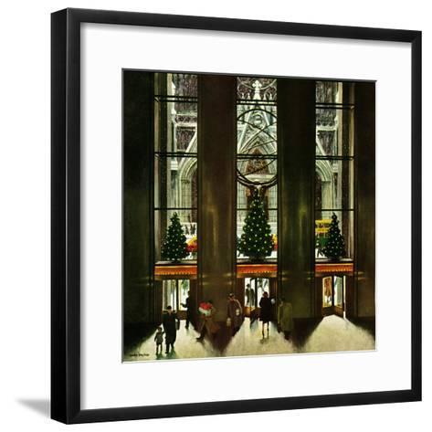 """St. Patrick's Cathedral at Christmas,"" December 3, 1949-John Falter-Framed Art Print"
