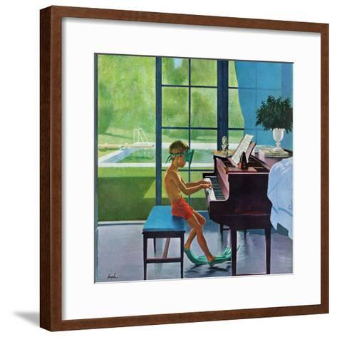 """Poolside Piano Practice,"" June 11, 1960-George Hughes-Framed Art Print"