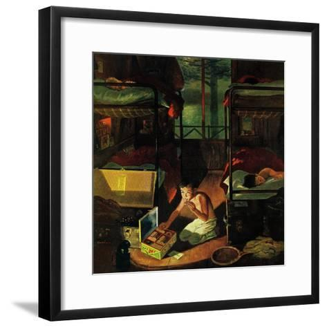 """""""Care Package at Camp,"""" August 6, 1960-George Hughes-Framed Art Print"""