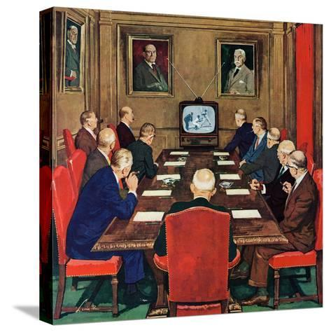"""""""Baseball in the Boardroom,"""" October 8, 1960-Lonie Bee-Stretched Canvas Print"""
