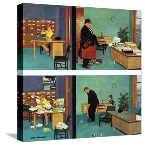 """""""Putting Time in the Office,"""" February 18, 1961-Richard Sargent-Stretched Canvas Print"""