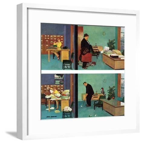 """""""Putting Time in the Office,"""" February 18, 1961-Richard Sargent-Framed Art Print"""