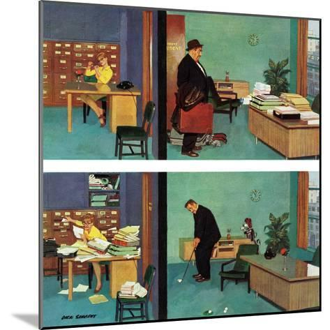"""""""Putting Time in the Office,"""" February 18, 1961-Richard Sargent-Mounted Giclee Print"""