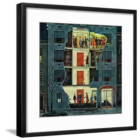 """Party Holding Up the Elevator,"" February 25, 1961-Ben Kimberly Prins-Framed Art Print"