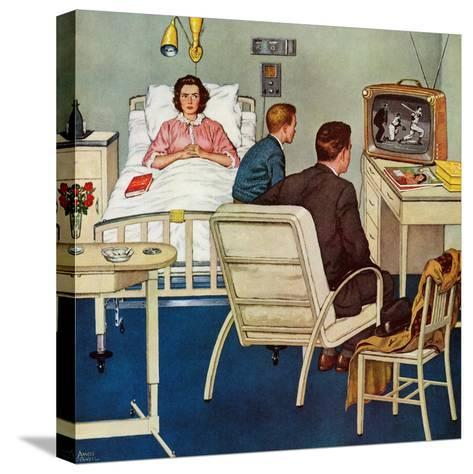 """""""Baseball in the Hospital,"""" April 29, 1961-Amos Sewell-Stretched Canvas Print"""