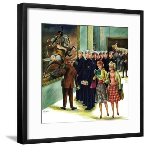 """Girl-Watching Sailors,"" August 12, 1961-Constantin Alajalov-Framed Art Print"