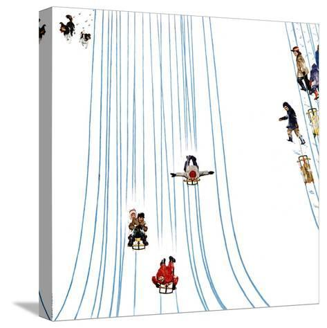 """""""Sledding Designs in the Snow,"""" February 3, 1962-John Falter-Stretched Canvas Print"""