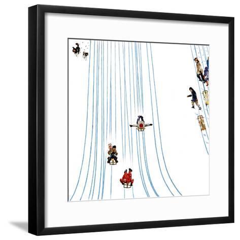 """""""Sledding Designs in the Snow,"""" February 3, 1962-John Falter-Framed Art Print"""