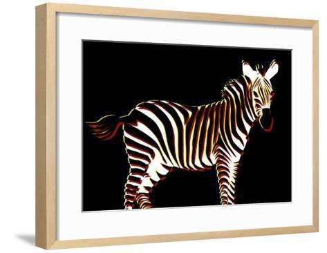 Zebra in Black Horizontal-Ikuko Kowada-Framed Art Print