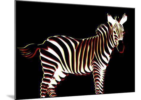 Zebra in Black Horizontal-Ikuko Kowada-Mounted Giclee Print