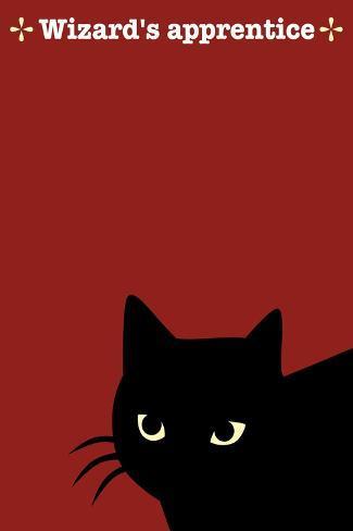 Black Cat in Red-Ikuko Kowada-Stretched Canvas Print