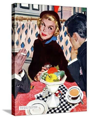 """The Indiscreet Window  - Saturday Evening Post """"Leading Ladies"""", January 20, 1951 pg.20-Joe deMers-Stretched Canvas Print"""
