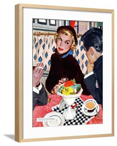"The Indiscreet Window  - Saturday Evening Post ""Leading Ladies"", January 20, 1951 pg.20-Joe deMers-Framed Art Print"