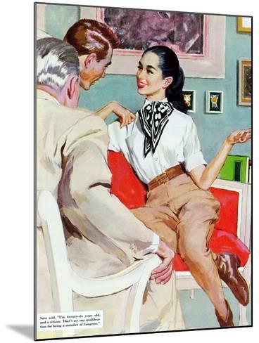 "The Lady Broke The Rules  - Saturday Evening Post ""Leading Ladies"", September 13, 1952 pg.23-Joe de Mers-Mounted Giclee Print"