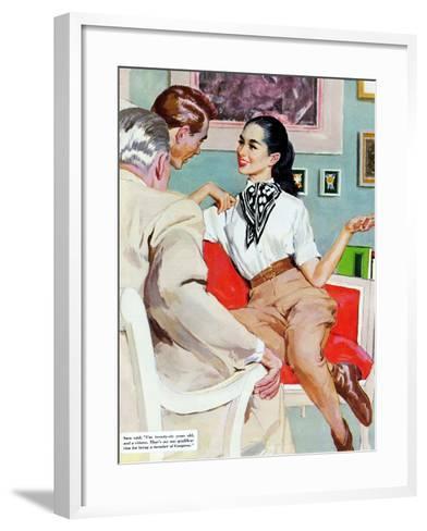"The Lady Broke The Rules  - Saturday Evening Post ""Leading Ladies"", September 13, 1952 pg.23-Joe de Mers-Framed Art Print"