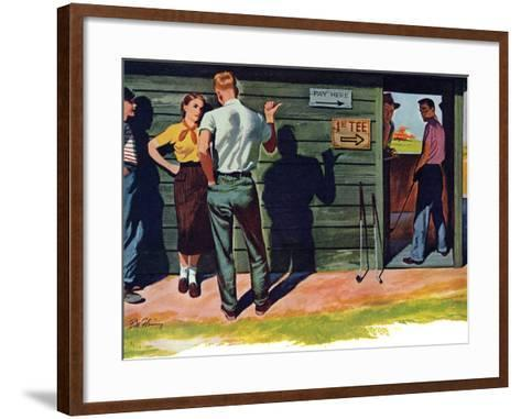 """The Wrong Kind of Boy  - Saturday Evening Post """"Leading Ladies"""", April 18, 1953 pg.30-Bill Fleming-Framed Art Print"""