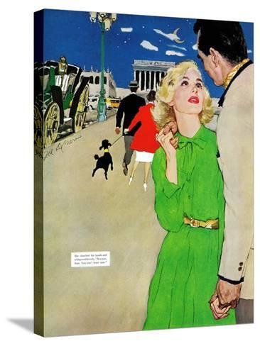 "Fugitive From Romance - Saturday Evening Post ""Leading Ladies"", April 6, 1957 pg.35-Joe deMers-Stretched Canvas Print"