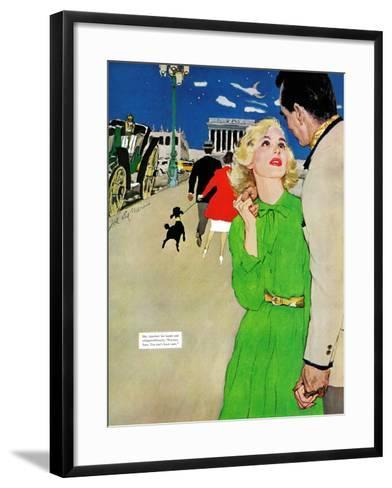 "Fugitive From Romance - Saturday Evening Post ""Leading Ladies"", April 6, 1957 pg.35-Joe deMers-Framed Art Print"