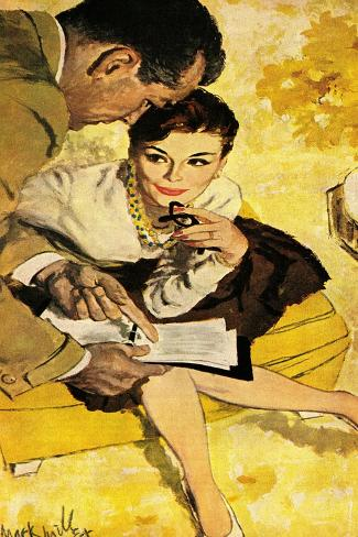 """The Progressive Approach  - Saturday Evening Post """"Leading Ladies"""", December 16, 1960 pg.30-Mark Miller-Stretched Canvas Print"""