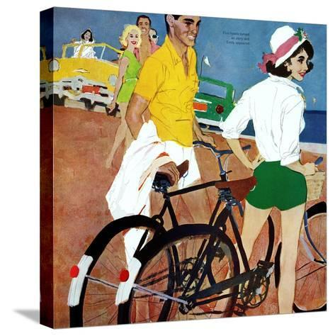 """Too Slow for the Crowd - Saturday Evening Post """"Leading Ladies"""", March 11, 1961 pg.27-Joe deMers-Stretched Canvas Print"""
