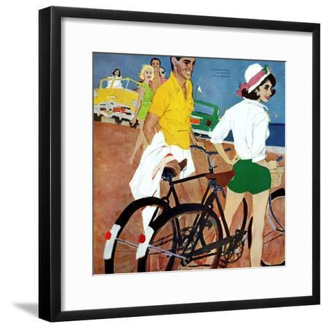 """Too Slow for the Crowd - Saturday Evening Post """"Leading Ladies"""", March 11, 1961 pg.27-Joe deMers-Framed Art Print"""