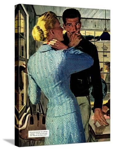 """The Golden Shadow - Saturday Evening Post """"Men at the Top"""", March 2, 1957 pg.20-Mac Conner-Stretched Canvas Print"""