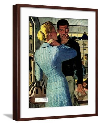 """The Golden Shadow - Saturday Evening Post """"Men at the Top"""", March 2, 1957 pg.20-Mac Conner-Framed Art Print"""