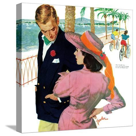 """The Strategy of Love - Saturday Evening Post """"Men at the Top"""", September 28, 1957 pg.32-Joe Bowler-Stretched Canvas Print"""