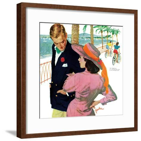 "The Strategy of Love - Saturday Evening Post ""Men at the Top"", September 28, 1957 pg.32-Joe Bowler-Framed Art Print"