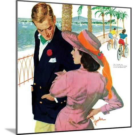 """The Strategy of Love - Saturday Evening Post """"Men at the Top"""", September 28, 1957 pg.32-Joe Bowler-Mounted Giclee Print"""